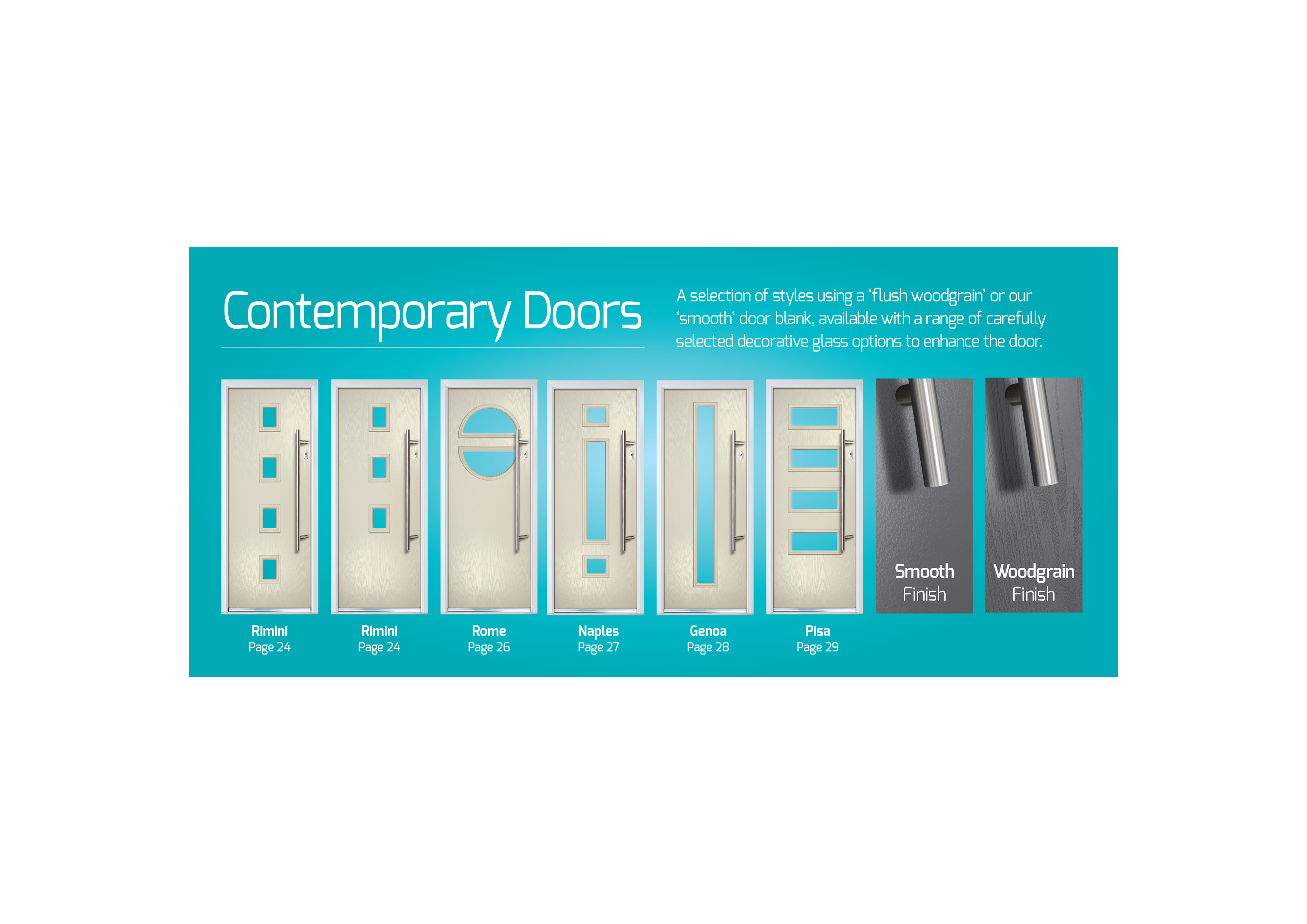 Contemporary doors now available in smooth finish