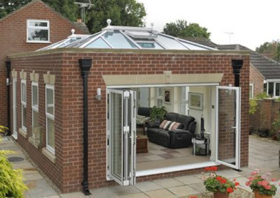 Force 8 conservatories, orangeries, and roof systems using uPVC traditonal white
