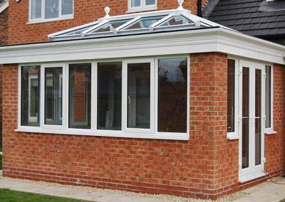 Force 8 conservatories, orangeries, and roof systems using uPVC traditional white