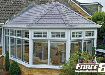 Force 8 lightwieight replacement conservatory roofs and sturcture shown in UPVC traditional white