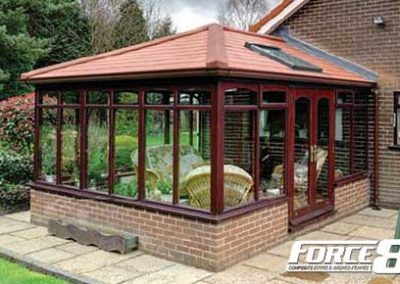Force 8 Conservatories, orangeries and roof systems shown in rosewood